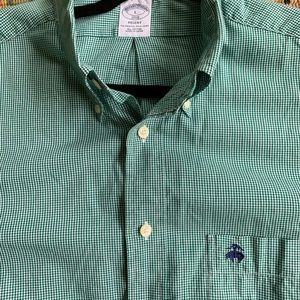 Green and white gingham brooks brothers shirt